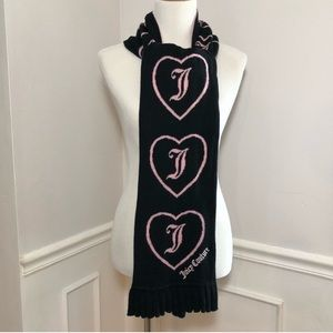 Juicy Couture Heart Pattern Wool Blend Scarf